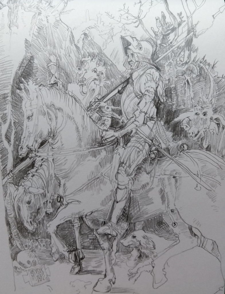 After Durer's engraving of the Knight's Journey on horseback with death on a nag, dog and curios monster.