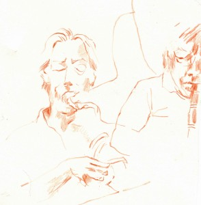 Souzaphone and jazz clarinet, Little Walden, 2015