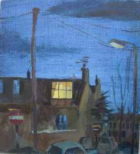 Nocturne: St Phillip's Road, oil on board, 20.5 x 20.5 cms