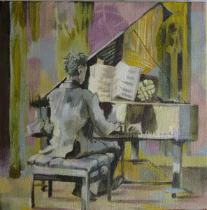 David Plays Schubert on Death, 2015, oil on linen 26 x 26 cms